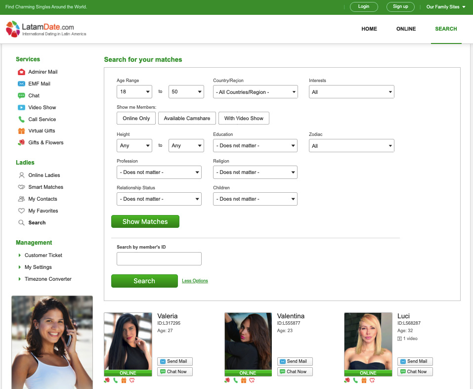 latinwomendate extended search
